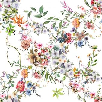 Акварельная живопись из листьев и цветов, бесшовный узор на белом