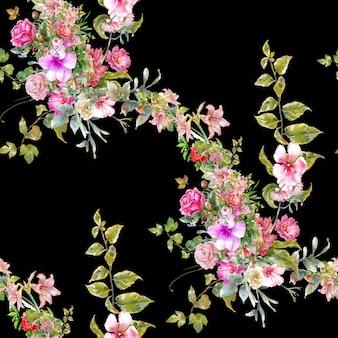 葉と花の水彩画