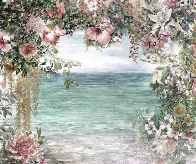 抽象的な花の水彩画。海のそばの色とりどりの春