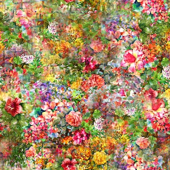 Акварельная живопись из листьев и цветов, бесшовные