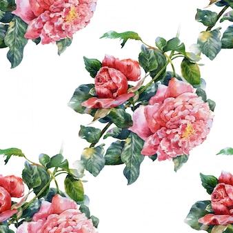 花、バラ、白い背景の上のシームレスなパターンの水彩画