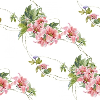 葉と花、白い背景の上のシームレスなパターンの水彩画