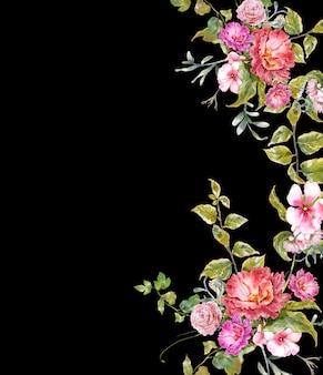 葉と花、暗い背景の水彩画