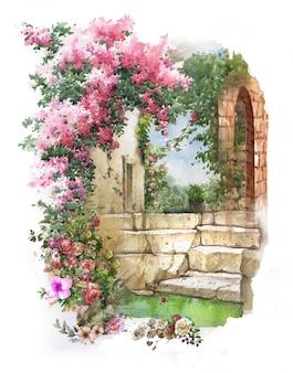 抽象的なカラフルな花の水彩画の風景。建物と壁のある春