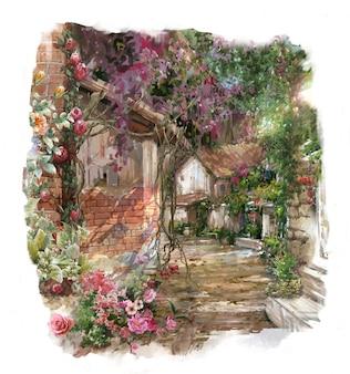 色とりどりの花の水彩画。建物と壁のある春
