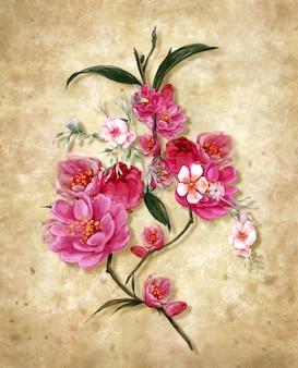 抽象芸術のカラフルな花の絵画