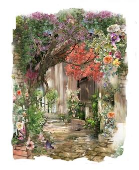抽象的なカラフルな花の水彩画のランドスケープ