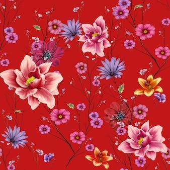 葉と花の水彩画、赤の背景にシームレスパターン