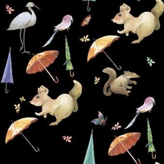 かわいい動物、花のシームレスパターンの水彩画