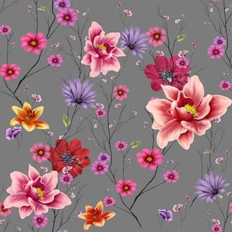 葉と花、シームレスなパターン背景の水彩画