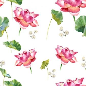 葉と蓮、白い背景の上のシームレスなパターンの水彩イラスト絵画
