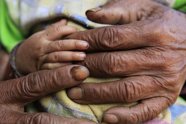 手を繋いでいる愛情のある家族のクローズアップ