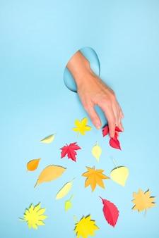 秋のコンセプトの穴から突き出ている人間の手のクローズアップ