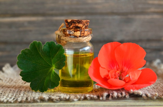 Эфирное масло герани в стеклянной бутылке с цветком и лист завода герани. масло герани для спа, ароматерапии и ухода за телом. экстракт масла герани.