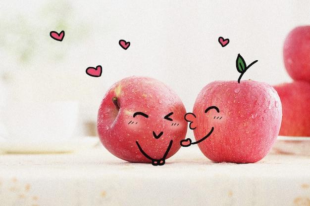 りんごの愛:クリエイティブな写真イラストのミックス