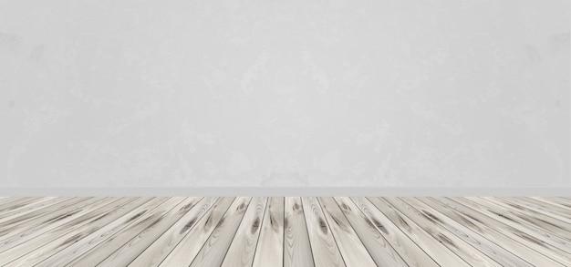 灰色の壁と木の板