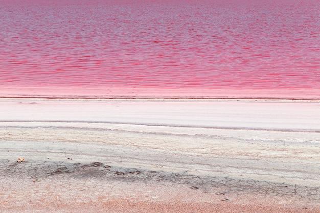 クリミア半島のユニークな塩味のピンクの湖。