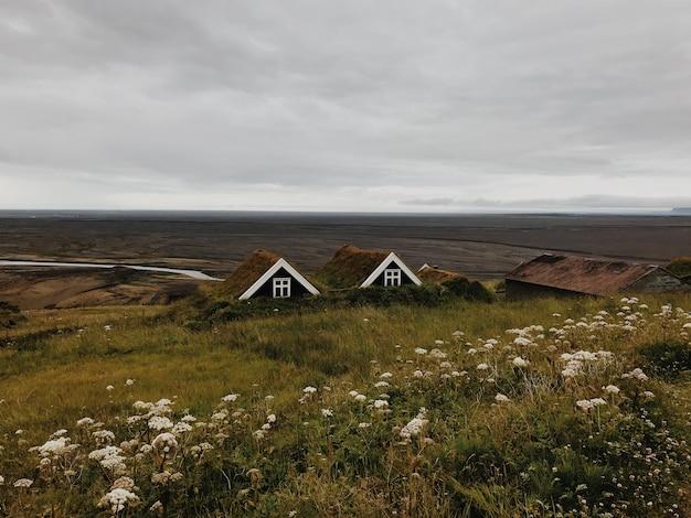 Исландские дома с видом на долину