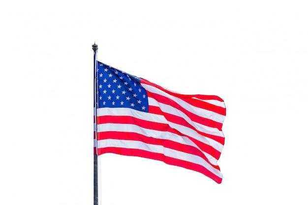 白色の背景上分離されたアメリカの国旗