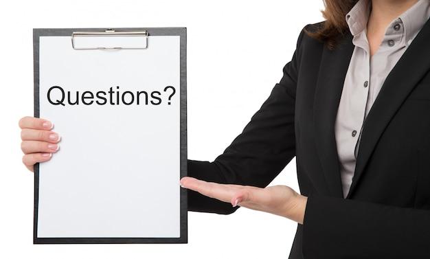 質問のクリップボードと実業家