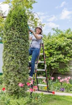 庭での作業