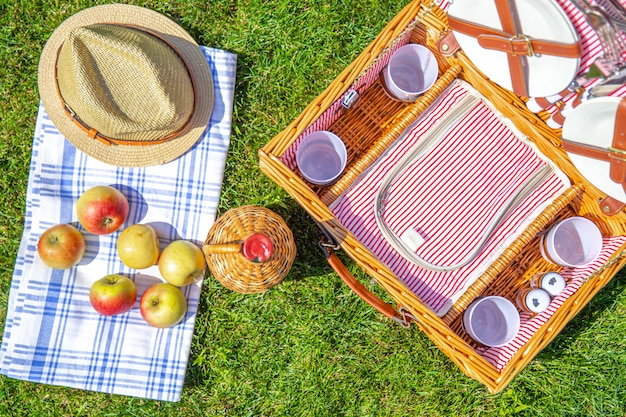 公園の緑の日当たりの良い芝生の上のバスケットとピクニックコンセプト