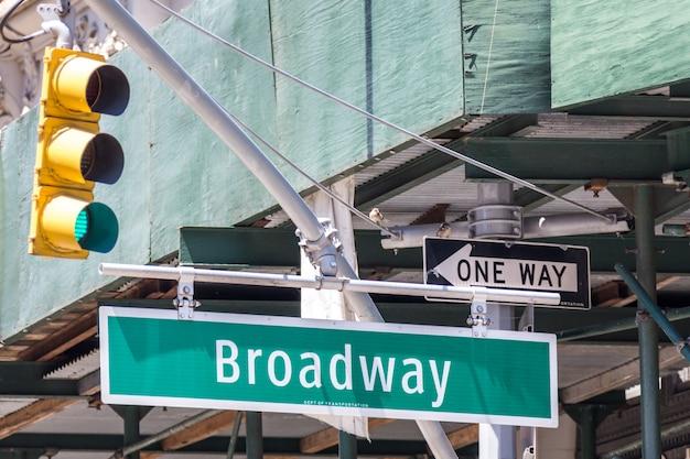 ニューヨーク市のブロードウェイの道路標識