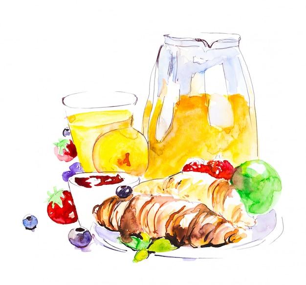 チョコレートクロワッサン、紅茶、果物、果実、リンゴ、オレンジジュースの朝食。手描きの水彩画