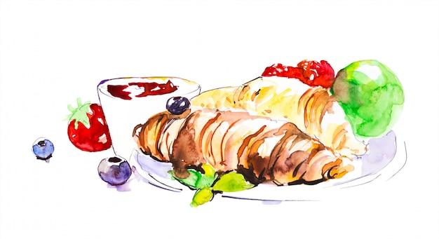 チョコレートクロワッサン、お茶、果物、果実、リンゴの朝食。手描きの水彩画