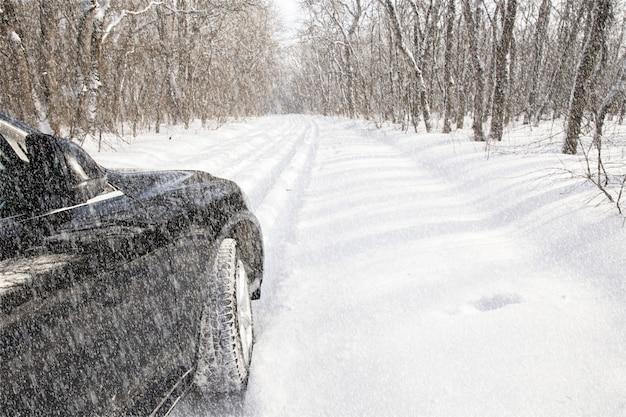 雪に覆われた森の中の車