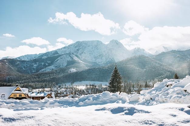 Вид на красивый горный пейзаж в татрах, закопане, польша