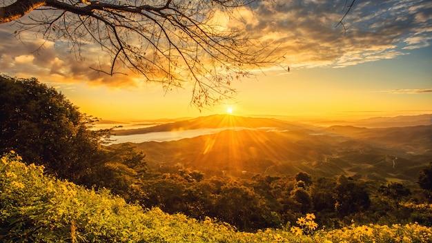 Восход солнца на севере чианг рай, таиланд