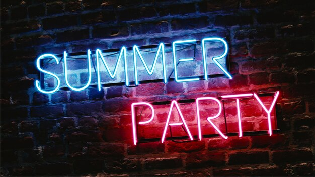 レンガの壁にネオン効果テキスト夏のパーティー
