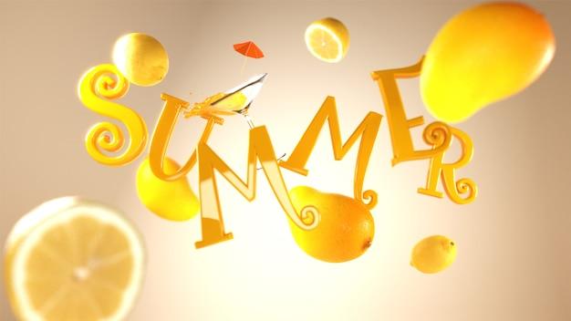 カクテル、マンゴー、レモンの飾り付きの夏のテキスト