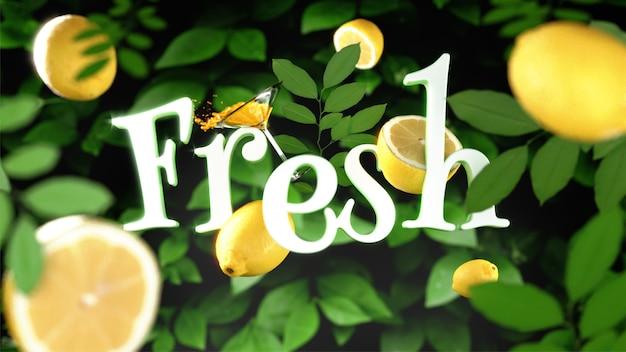 カクテルグラスとレモンのフレッシュテキスト装飾