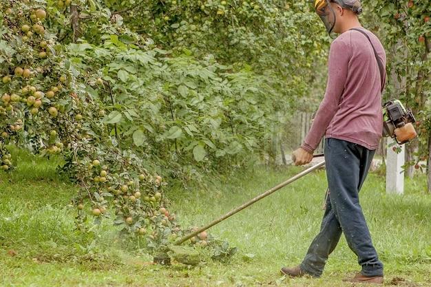 庭師は庭で緑の草を刈る機械を使用しています。庭の機器。若い男がトリマーで草を刈る