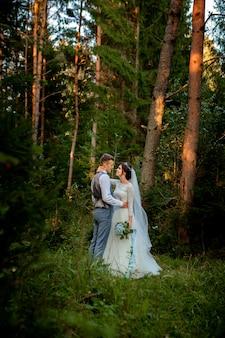 森を歩いて美しい新婚カップル。ハネムーナー。松の森で手を握って新郎新婦、バレンタインデーの写真