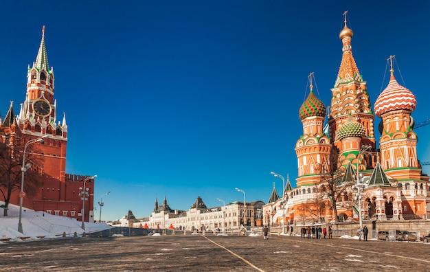 冬のモスクワの赤の広場。ロシア。