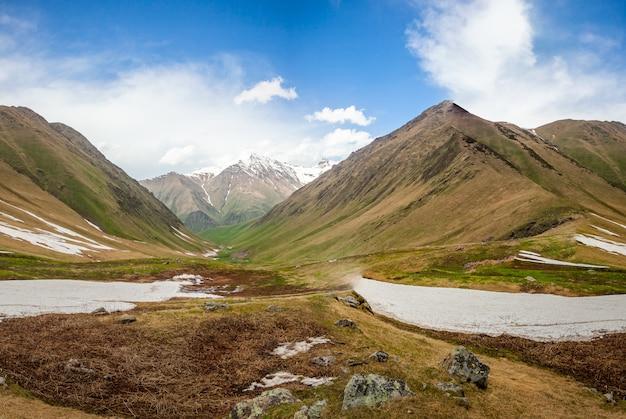 氷河と山の夏の自然風景