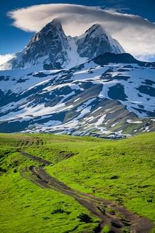 ウシュバ山の雪のピークの夏の風景