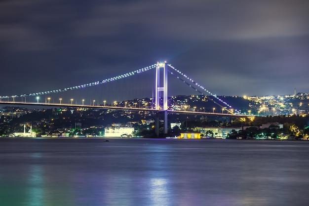 Босфорский мост ночью, стамбул