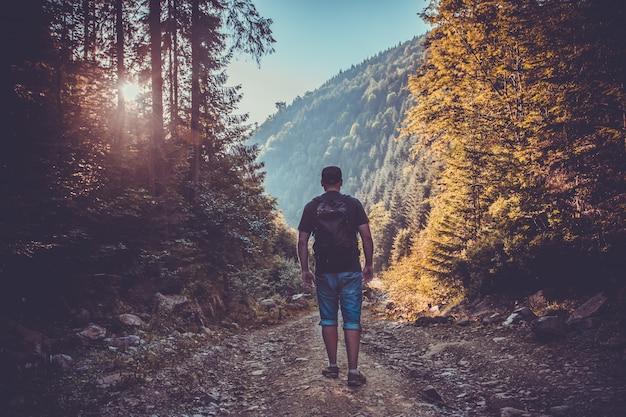 日没の森の若い男。旅行ライフスタイル