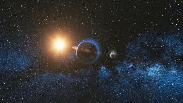 Восход солнца вид из космоса на планете земля и луна