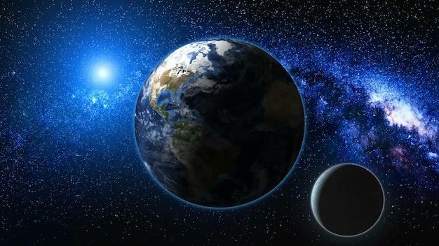 地球と月の宇宙からの日の出ビュー