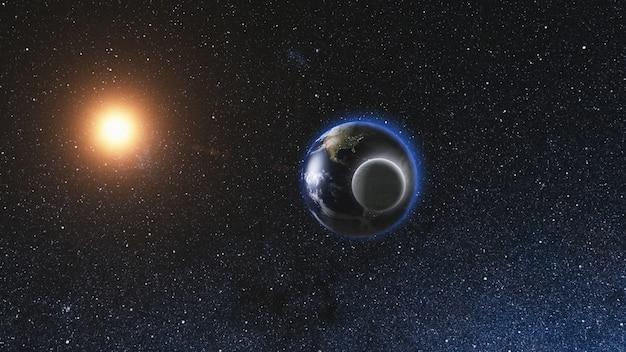 宇宙からの日の出ビュー月と現実的な地球
