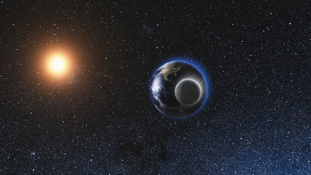 Восход солнца вид из космоса реалистичная земля с луной