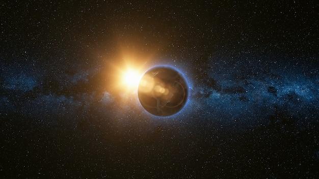 Космический вид на планете земля и солнце во вселенной
