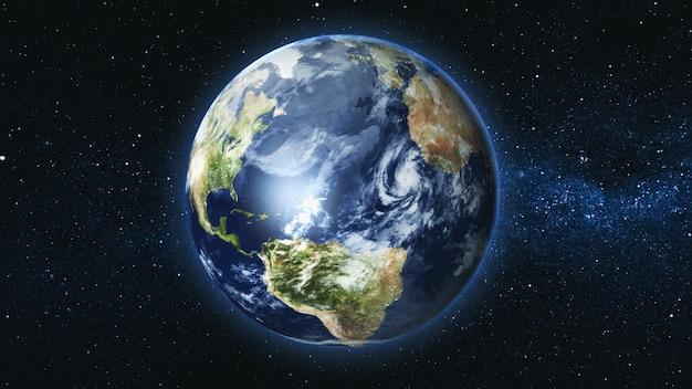 Реалистичная планета земля на фоне звездного неба