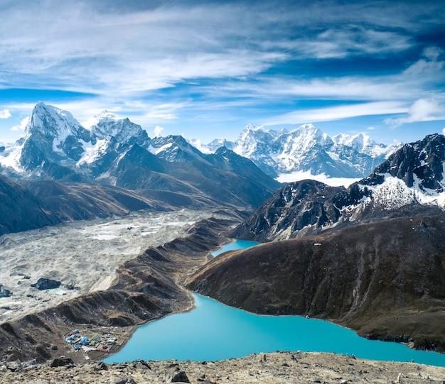 湖と美しい雪をかぶった山々