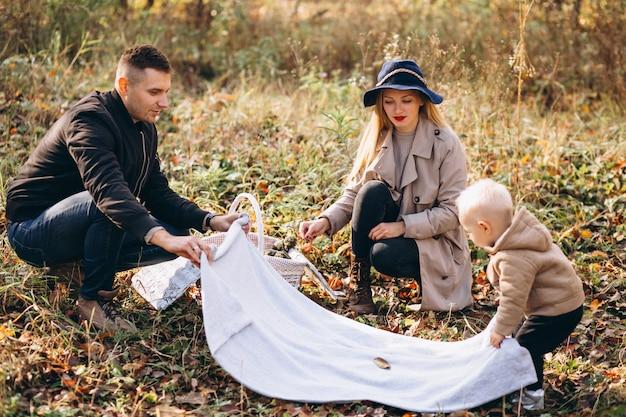秋の公園に息子と小さなピクニックを持つ家族